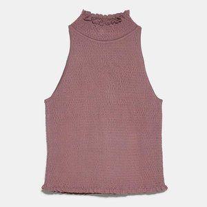 NWOT Zara Rose Pink Shirred Smocked Top Size S-M